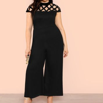 Plus Geo Cut Out Yoke Wide Leg Jumpsuit