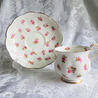 Vintage Royal Albert Fine Bone China Footed Tea cup Saucer Pink Rose Chintz cup and saucer Victoria Shaped Tea Party Cottage Chic
