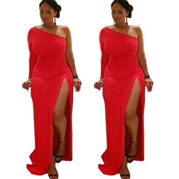 Red Half Sleeve with High Slit Maxi Dress