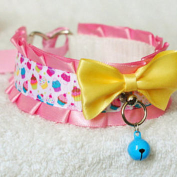 Sweetest Cupcake - collar for pet play, age play, bdsm, lolita, ddlg etc.