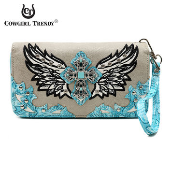 Cowgirl Trendy Wing and Cross Wristlet Wallet