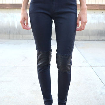 Ribbed Leather Jeggings