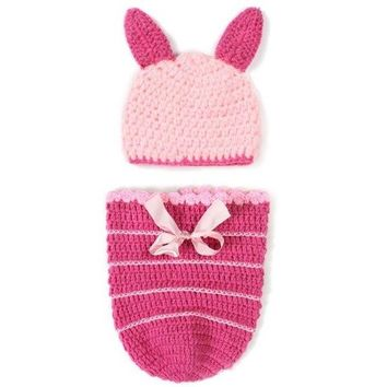 Chic Quality Handmade Crochet Knitted Rabbit Shape Hat Sleeping Bag Set Baby Clothes