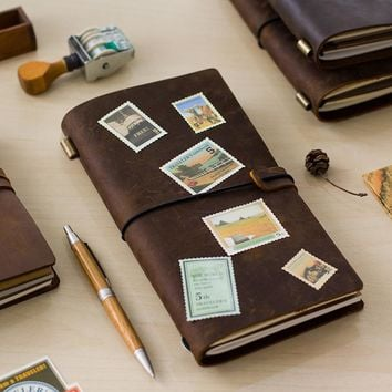 Hot Sale 100% Genuine Cow Leather Cover Retro Traveler's Notebook Diary Journal Vintage Handmade Travel Note Book Pocket Planner