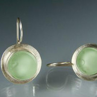 Oceana Sea Green Vintage Glass and Silver Earrings