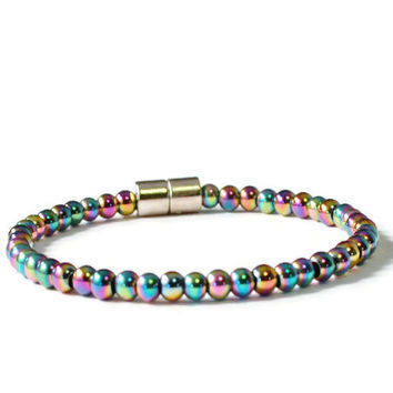 Rainbow Magnetic Hematite Therapy Bracelet, Health Jewelry