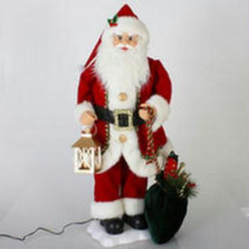 Animated Santa Figure - Old-world Santa, With His Lantern And Toy Bag, Will Add Motion And Music To Your Holiday Display