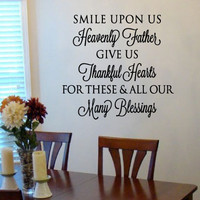 Smile upon us Heavenly Father Prayer Vinyl Wall Art Decal