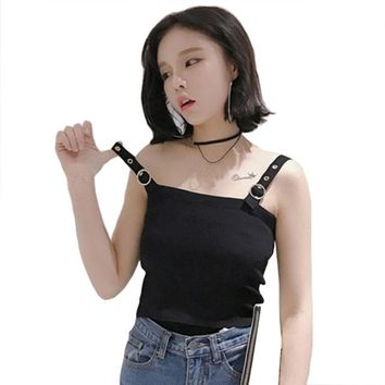 Elastic Slim Tank Top 2018 Spring Summer Women Joker Short Knitted Tank Top Female Strap Low Cut Sexy Tops Crops Camisole