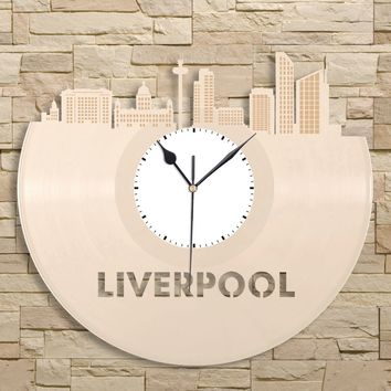 Liverpool Skyline Clock, British Gift, Great Britain Wall Decor, Liverpool England, Vinyl Wall Art, City Skyline, Personalized Traveler Gift
