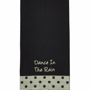 Dance in the Rain - Embroidered Cotton Kitchen Dish Towel - Black with Black Polka Dot Trim