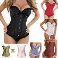 Sexy Corselet Women Plus size Satin Overbust Embroidered Corset Bustier Top with G string Set Lingerie 819 waist training = 5659523457