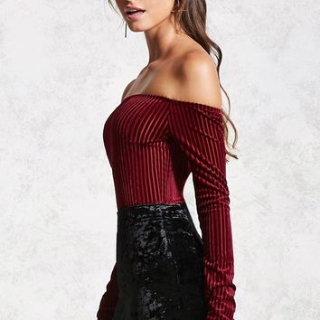 Velvet Off-the-Shoulder Bodysuit