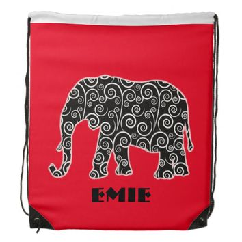 Black Elephant Swirl Design on Red Personalized Drawstring Backpack