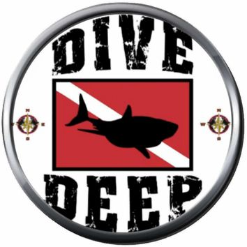Dive Deep Shark Scuba Diver Down Flag Red & White 18MM - 20MM Snap Jewelry Charm New Item