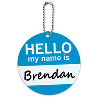 Brendan Hello My Name Is Round ID Card Luggage Tag