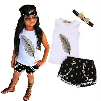 Abacaxi Kids Girls Feather 3Pc Outfit 3-7T