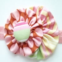 Pink fabric flower headband - infant toddler polka dot head band with covered button center - pastel pink elastic band - photo prop