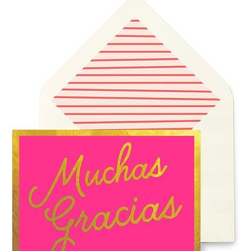 Muchas Gracias Greeting Card, Single Folded Card or Boxed Set of 8