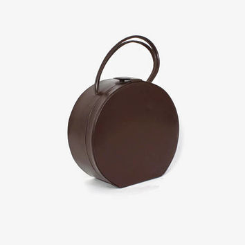 Vintage 50s Round Box Purse / 1950s Brown Leather Circular Large Handbag