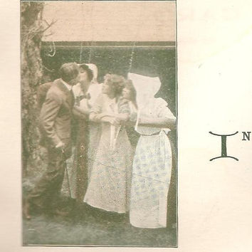 To The One I Love Man Kisses One of Three Girls – Cutely Romantic Unused Vintage Postcard