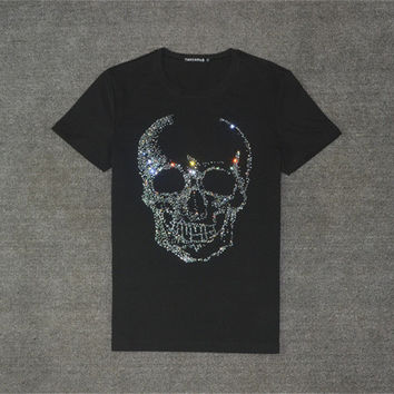 New  Fashion Cool Skull Diamonds Character Bling Women T shirts Female Plus Size T-shirt O-neck Tops Woman t shirt 72784 GS