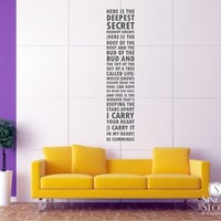 I Carry Your Heart - ee cummings - Wall Decals - Wall Decals | Wall Stickers | Vinyl Wall Art