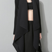 Black Long Sleeve Asymmetric Long Coat