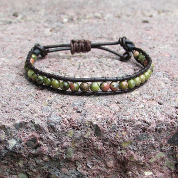 Beaded woven leather bracelet - green/multi unakite - adjustable