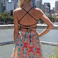 HAYLEY DRESS , DRESSES, TOPS, BOTTOMS, JACKETS & JUMPERS, ACCESSORIES, SALE, PRE ORDER, NEW ARRIVALS, PLAYSUIT, COLOUR,,Pink,Print,CUT OUT,BACKLESS Australia, Queensland, Brisbane