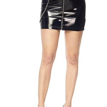 Dominate Latex Chain Mini Skirt