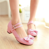 PXELENA New Hot Girls Sweet Bowktie Womens Lolita Mary Janes Low Heel Ballet Pumps Ankle Strap Shoes Plus Size US4.5-10.5
