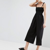 ASOS Jumpsuit in Cotton with Shirred Bodice at asos.com