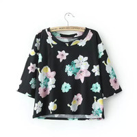 Summer Pastoral Style Floral Print Blouse Tops T-shirts [6048492993]