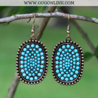 Bronze Oval Earrings with Turquoise Crystal Stones