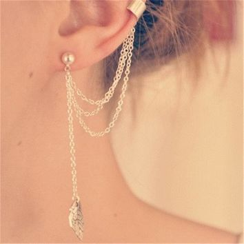 Fashion Accessory Leaf Pendant Tassels Earrings [1292354027587]