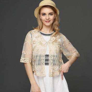 Large Size Women Cardigan Half Flare Sleeve Singe Button Butterfly Pattern Embroidery Lace Mesh Shrug Crochet Blusas Top