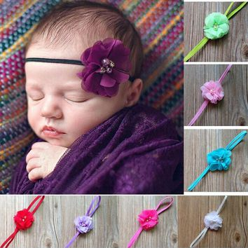 Cute Newborn Flower Princess Pearl Rhinestone Headband Kids Elastic Hair Band Ring Flower Hair Accessories W054
