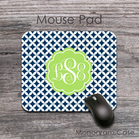 Apple green with navy blue diamond pattern mouse pad