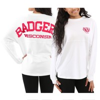 Women's Wisconsin Badgers White Sweeper Long Sleeve Oversized Top