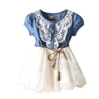 Amoin Baby Girl Tutu Denim Dress Short Sleeve Lace Princess Party Skirts