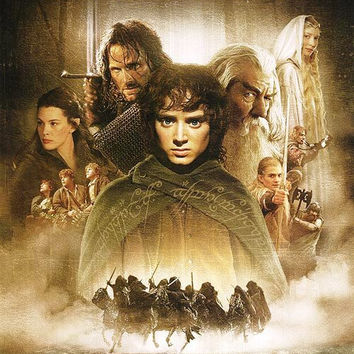 The Lord of the Rings the Fellowship of the Ring Movie Poster 27x40 Used Sarah McLeod, Elijah Wood, Bill Johnson, Norman Forsey, Sean Bean, Andy Serkis, Leo McKern, Noel Appleby, Marton Csokas, John Rhys-Davies, Dominic Monaghan, Ian McKellen