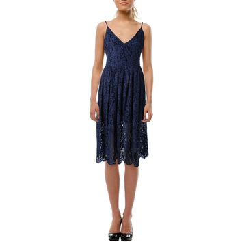 Cynthia Rowley Womens Sleeveless Lace Slip Dress