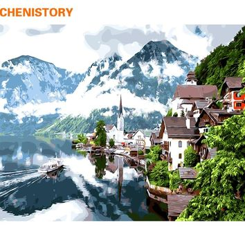 CHENISTORY Frameless Water Town DIY Painting By Numbers Landscape Modern Wall Art Picture Paint By Numbers For Home Decor 40x50