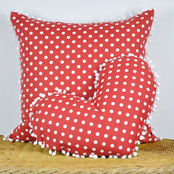 Red and White Polka Dots Print Heart Pillow Case - Decorative Throw Pillow with Pom Pom Trim -  Water and Stain Resistant Cushion Cover