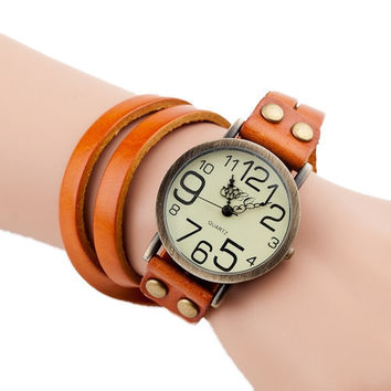 Wrap Vintage Bracelet & Watch (Orange) For Women On Sale