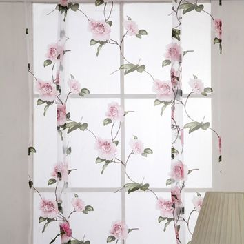Roman Chiffon Printing Curtains Blinds Floral White Sheer Office Short Tulle Window Door Curtain