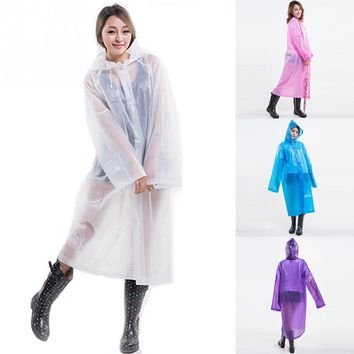 Long ECO raincoat women transparent rain coat poncho hoodie raincoat portable rainwear summer raincoat for hiking travel outdoor