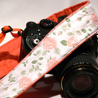 Flowers dSLR Camera Strap. Peach White Orange Camera Strap with Roses. Women accessories