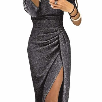 Black Metallic Glitter Off Shoulder Formal Dress
